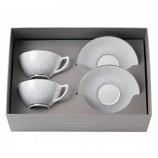 Jasper Conran At Wedgwood Pinstripe Set of 2 Teacups & Saucers