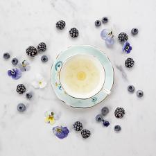 Alpha Foodie Teacup, Saucer & Plate Set Turquoise