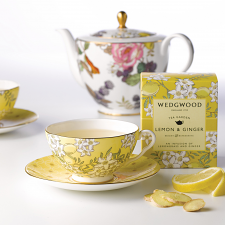 Wedgwood Tea Garden Teacup & Saucer Lemon / Ginger Boxed