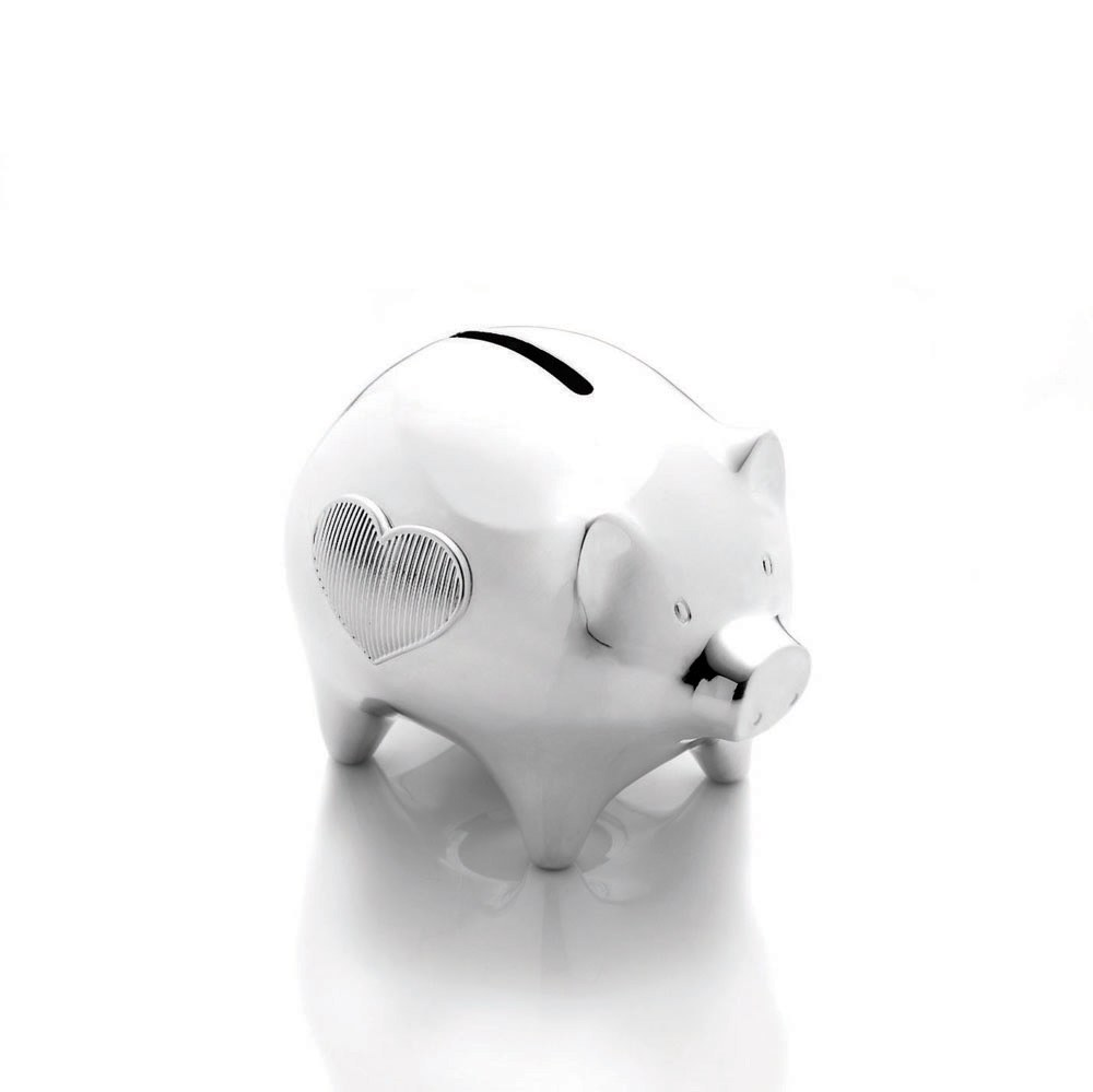 Vera Wang Wedgwood Baby Collection Silver Giftware Baby Piggy Bank Royal Doulton Outlet