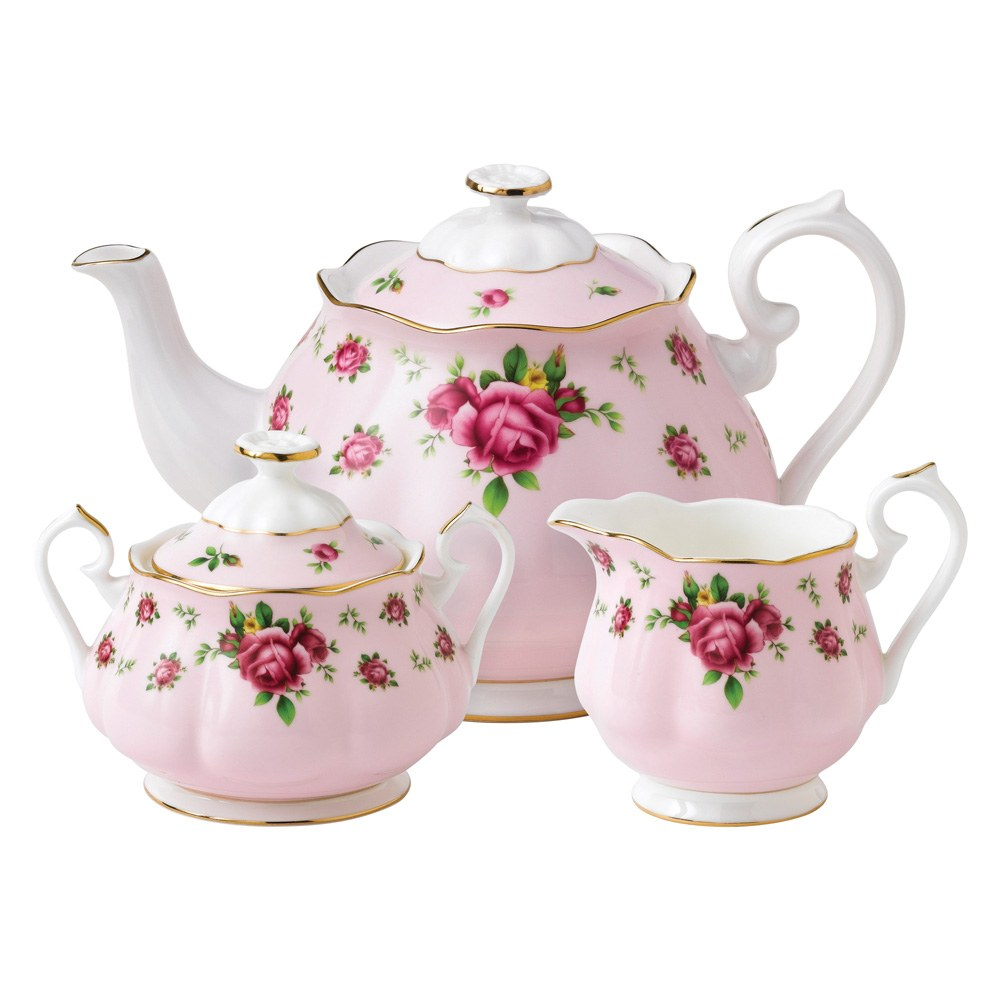 Royal Albert New Country Roses Pink Teapot/Sugar/Creamer Set