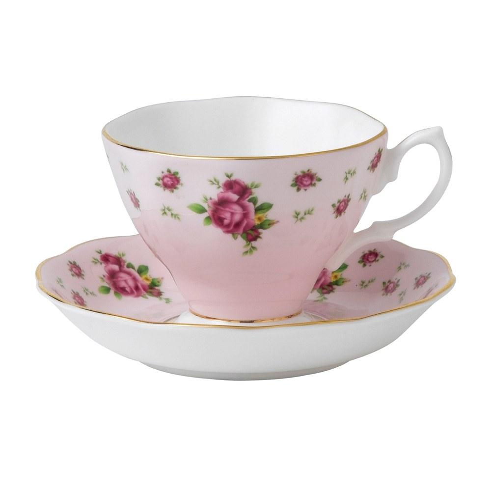 royal albert new country roses pink vintage teacup saucer. Black Bedroom Furniture Sets. Home Design Ideas