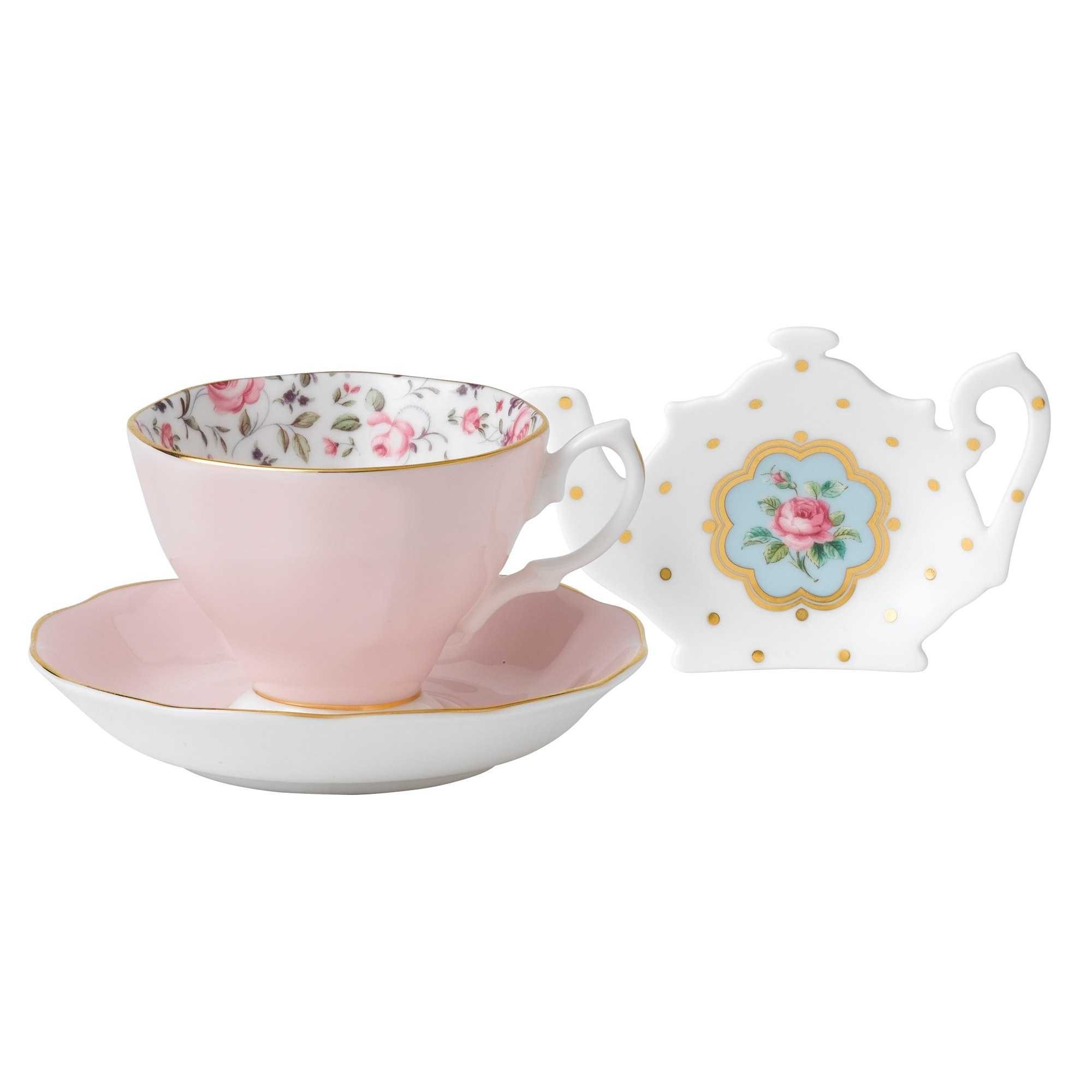 royal albert rose confetti teacup saucer teatip royal. Black Bedroom Furniture Sets. Home Design Ideas