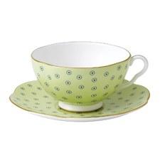 Wedgwood Polka Dot Green Teacup & Saucer Set
