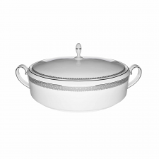 Wedgwood Vera Wang Lace Platinum Covered Vegetable Dish with Lid 1.4 Liter