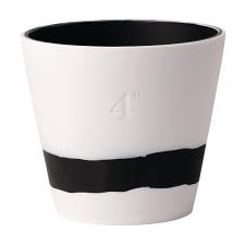 Wedgwood Burlington Pots Black on White Pot 4inch