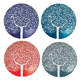Royal Doulton Fable Accent Set of 4 Tree Plates 16cm