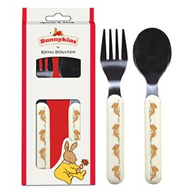 Royal Doulton Bunnykins Melamine Spoon & Fork (Run)