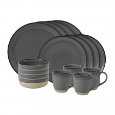 ED Ellen DeGeneres Crafted by Royal Doulton - 16 Piece Set Brushed Glaze Charcoal Grey