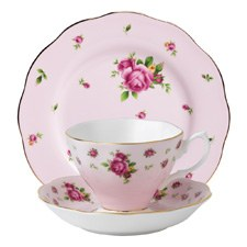 Royal Albert New Country Roses Pink Teacup/Saucer/Plate Set