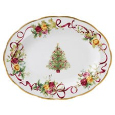 Royal Albert Old Country Roses Christmas Tree Oval Platter