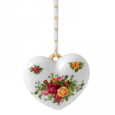 Royal Albert Old Country Roses Christmas Heart Ornament 5cm
