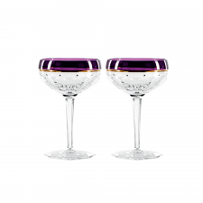 Waterford Elysian Champagne Coupe Purple Pair