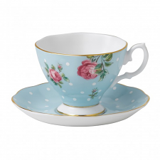 Royal Albert Polka Blue Espresso Cup & Saucer