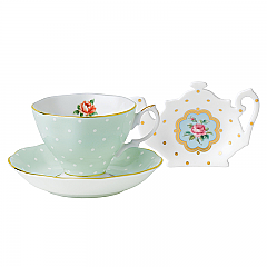 Royal Albert Polka Rose Teacup/Saucer/Tea Tip Set