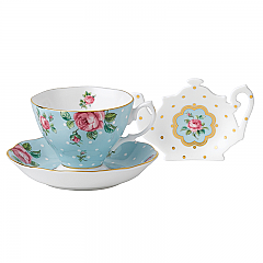 Royal Albert Polka Blue Teacup/Saucer/Tea Tip Set