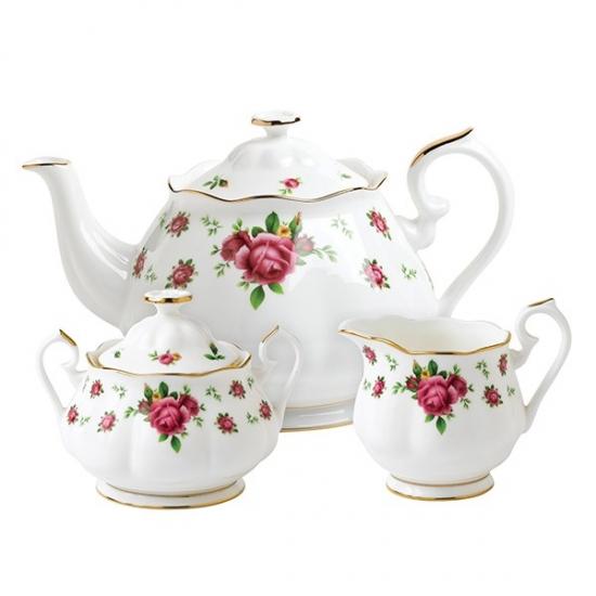 Royal Albert New Country Roses White Teapot/Sugar/Creamer Set