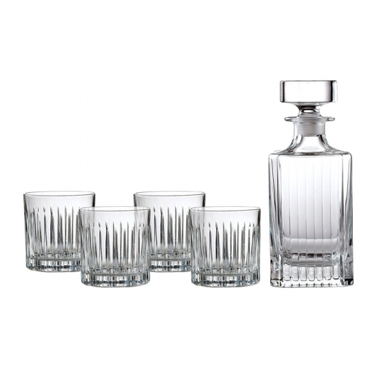 Royal Doulton Linear Set: Spirit Decanter & 4 Tumblers