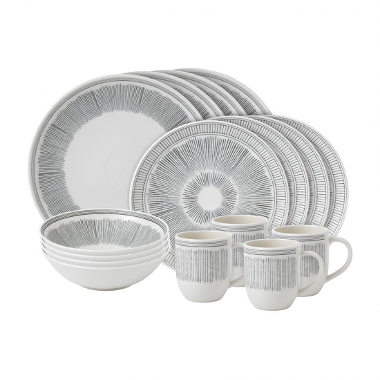 ED Ellen DeGeneres Crafted by Royal Doulton  16 Piece Set Charcoal Grey Lines